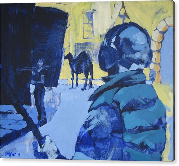 Camel Film Set Blue Yellow Landscape Painting Realistic Acrylic Print featuring the painting the Sound Man and the Camel by Amy Bernays