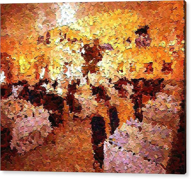 Abstract Acrylic Print featuring the painting Shoppers In The Gallery by Don Phillips