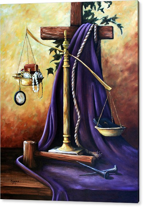 Oil Painting Acrylic Print featuring the painting The Purple Robe by Cynara Shelton