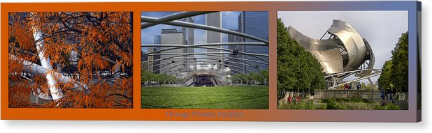 Chicago Acrylic Print featuring the photograph Chicago Pritzker Music Pavillion Triptych 3 Panel by Thomas Woolworth