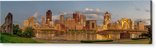 Pittbsurgh Acrylic Print featuring the photograph Evening Panorama by Jennifer Grover