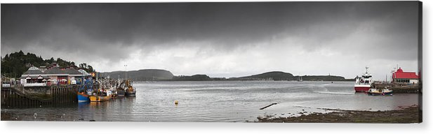 Moored Acrylic Print featuring the photograph Boats Moored In The Harbor Oban by John Short