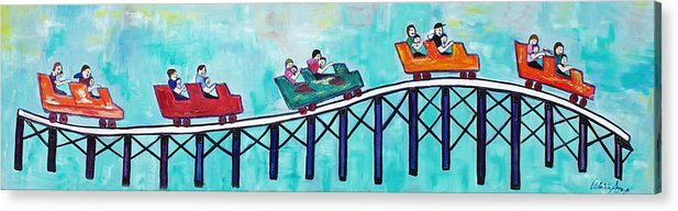 Memorabilia Acrylic Print featuring the painting Roller Fun by Patricia Arroyo