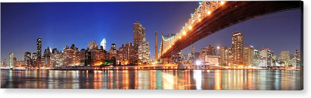 New York Acrylic Print featuring the photograph Queensboro Bridge And Manhattan by Songquan Deng