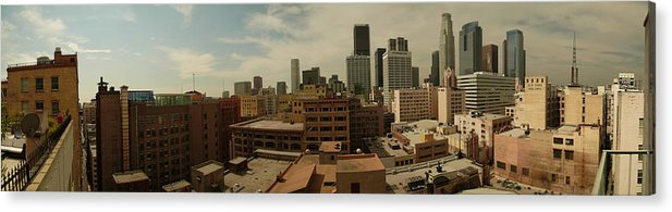 Downtown Los Angeles La La La Land Acrylic Print featuring the photograph Downtown Los Angeles Panorama by Kareem Farooq