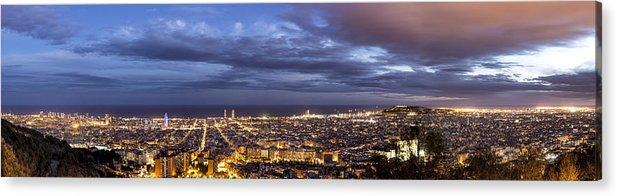 The Barcelona City Skyline Acrylic Print featuring the photograph The Barcelona City Skyline, Spain by David Ortega Baglietto