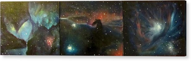 Space Acrylic Print featuring the painting Nebula Triptych by Alizey Khan