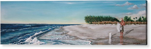 Beach Acrylic Print featuring the painting Bean Point by Joan Garcia