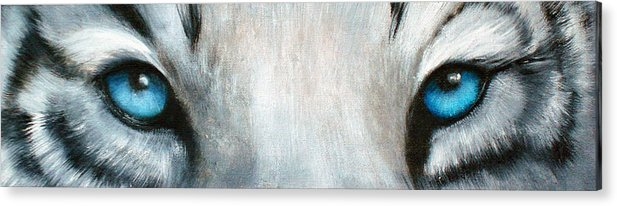 White Tiger Eyes Acrylic Print featuring the painting Whos Watching Who...white Tiger by Darlene Green