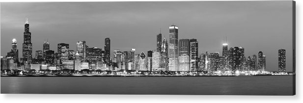 Chicago Acrylic Print featuring the photograph 2010 Chicago Skyline Black And White by Donald Schwartz