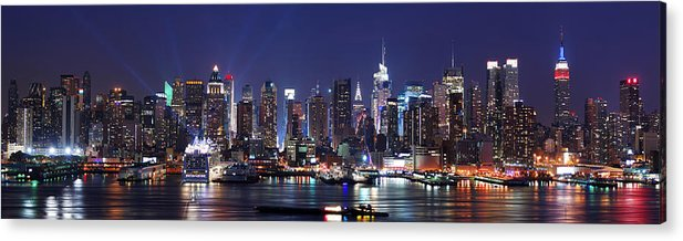 New York City Acrylic Print featuring the photograph New York City Skyline Panorama by Songquan Deng