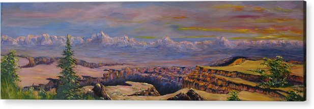 Landscape Arizona Acrylic Print featuring the painting Vermillion Clffs by Thomas Restifo