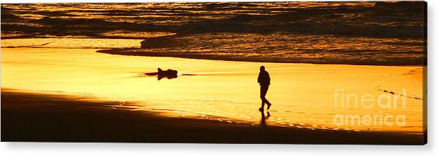 Pacific Ocean Acrylic Print featuring the photograph Jog At Sunset by Larry Keahey