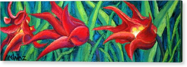 Tulips Acrylic Print featuring the painting Triple Tease Tulips by Minaz Jantz