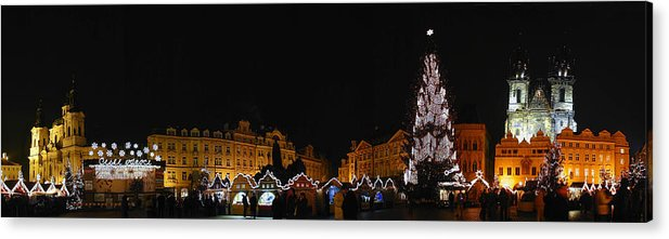 Old Town Square Photographs Acrylic Print featuring the photograph Christmas Market by Gary Lobdell