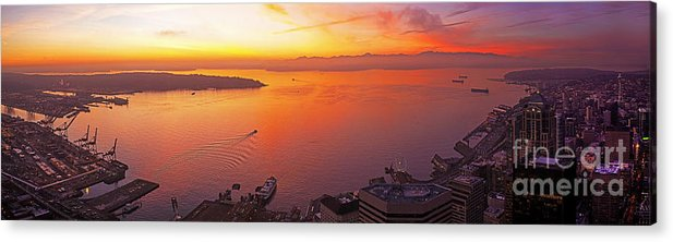 Seattle Acrylic Print featuring the photograph Puget Sound Sunset by Mike Reid