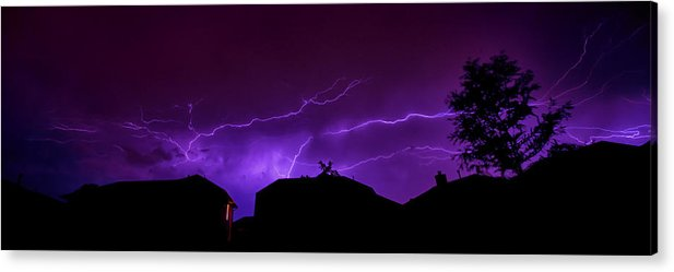 Lightning Acrylic Print featuring the photograph The Lightning Over Avery Neighborhood by Lisa Spencer