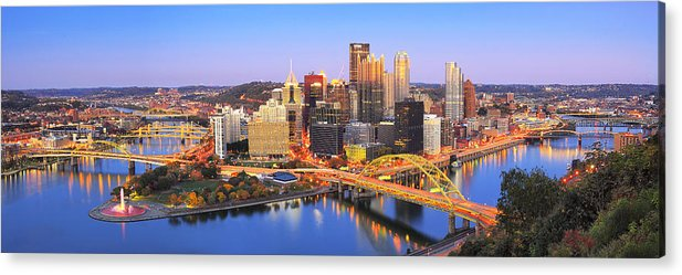 Steelers Acrylic Print featuring the photograph Pittsburgh Pano 22 by Emmanuel Panagiotakis