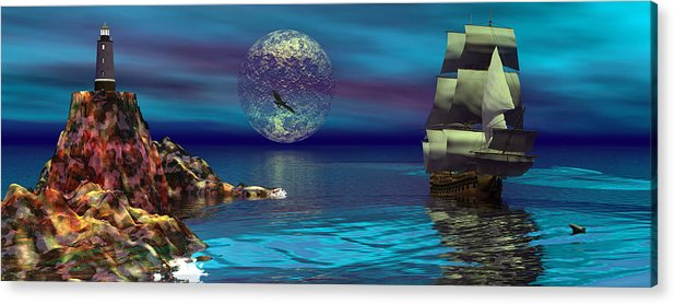 Bryce 3d Scifi Fantasy  Dolphin tall Ship Windjammer \sailing Ship\ Sailing Acrylic Print featuring the digital art Beacon Of Hope by Claude McCoy
