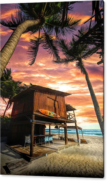 Surf Shack on the Beach at Sunset by Debra and Dave Vanderlaan