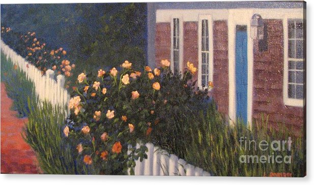 Martha's Vineyard Acrylic Print featuring the painting Island Roses by Laura Roberts