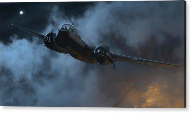 Heinkel Acrylic Print featuring the digital art Nightfighter - Painterly by Robert Perry