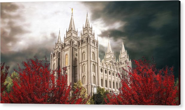 Salt Lake Acrylic Print featuring the painting Salt Lake Temple - A Light in the Storm by Brent Borup