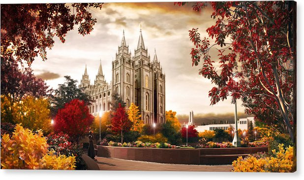 Salt Lake Acrylic Print featuring the painting Salt Lake Temple - Autumn by Brent Borup