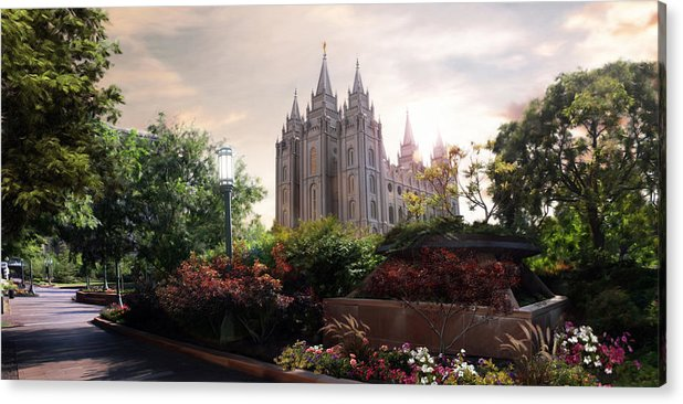 Salt Lake Acrylic Print featuring the painting Salt Lake temple by Brent Borup