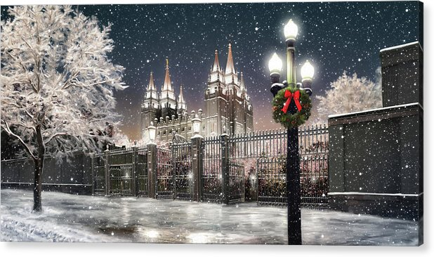 Salt Lake Acrylic Print featuring the painting Salt Lake Temple Christmas Lights by Brent Borup