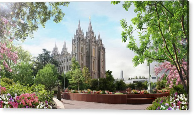 Salt Lake Acrylic Print featuring the painting Salt Lake Temple - Spring by Brent Borup