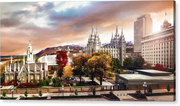 Salt Lake Acrylic Print featuring the painting Temple Square #2 by Brent Borup
