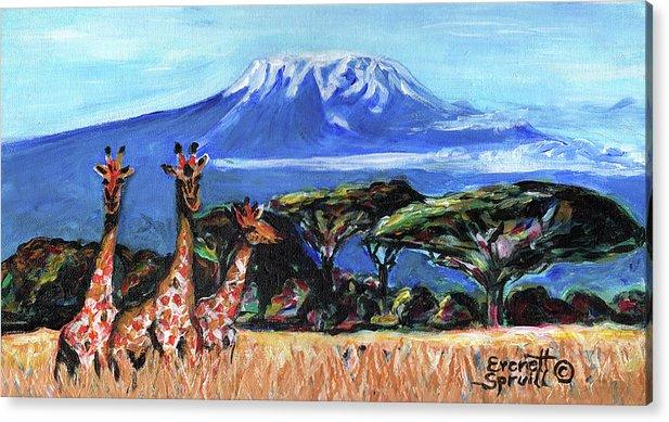 Everett Spruill Acrylic Print featuring the painting Three Giraffes by Everett Spruill
