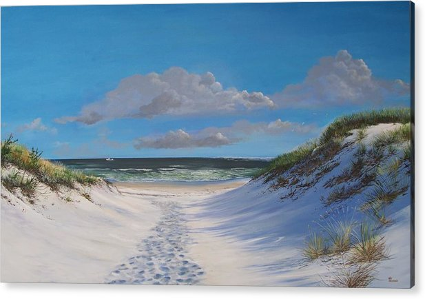 Seascape Acrylic Print featuring the painting Island Beach Dune Walk by Ken Ahlering