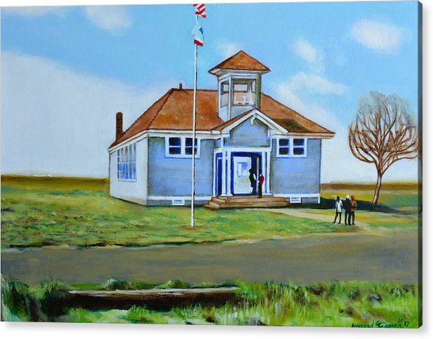 Buildings; School; Landscape; African American Community; Historical State Park; Acrylic Print featuring the painting Allensworth School by Howard Stroman