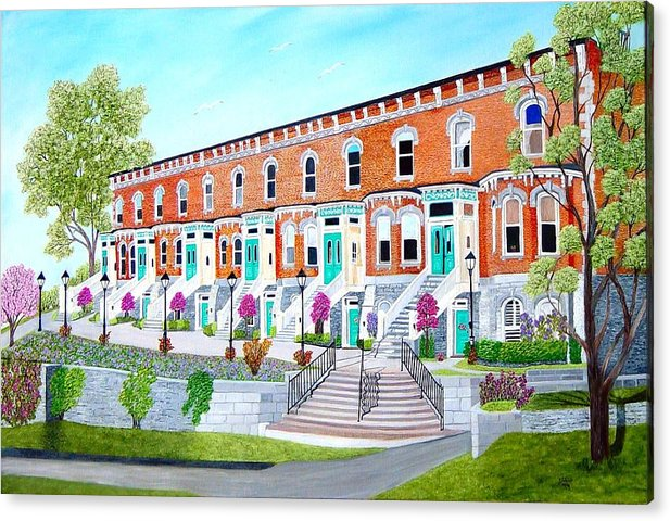 Belleville Ontario Buildings Painting Acrylic Print featuring the painting Bellevue Terace circa 1876 by Peggy Holcroft