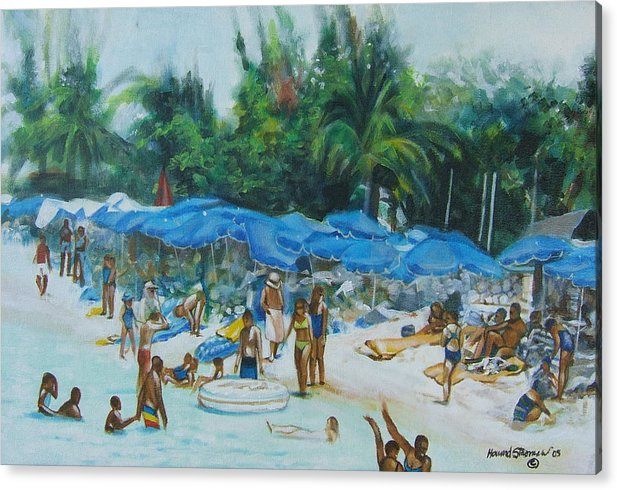 At The Beach Acrylic Print featuring the painting Intimacy on Vacation by Howard Stroman