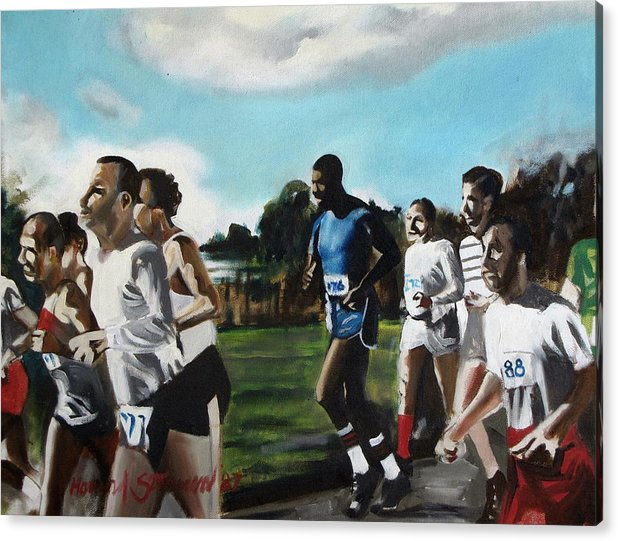 Jogging;sports;group Sports;landscape;running;lake;sky;clouds;outdoors Acrylic Print featuring the painting Runnin' by Howard Stroman
