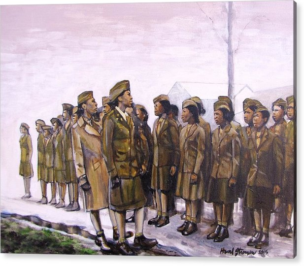 Military; Women Military; Soldiers; Ww2; Army; Women Soldiers; Acrylic Print featuring the painting Attention by Howard Stroman