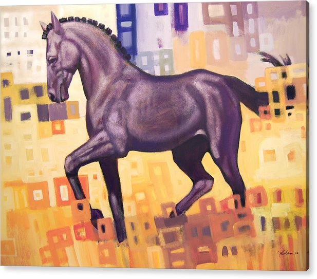 Horse Acrylic Print featuring the painting Black Horse by Farhan Abouassali