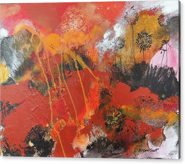 Mixed Media Collage Acrylic Print featuring the mixed media Sunrise Over the Thicket by Jo Ann Brown-Scott