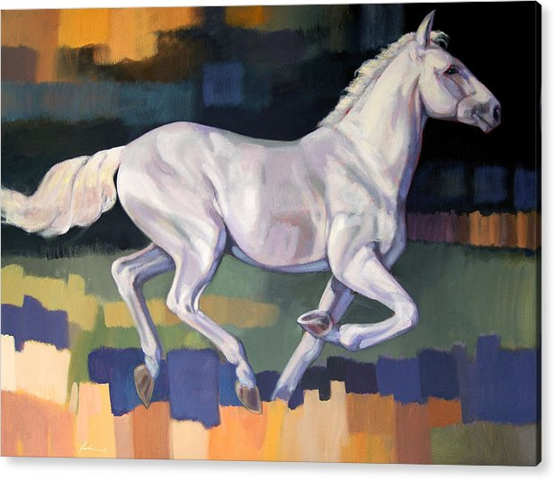 Horse Acrylic Print featuring the painting White Horse2 by Farhan Abouassali