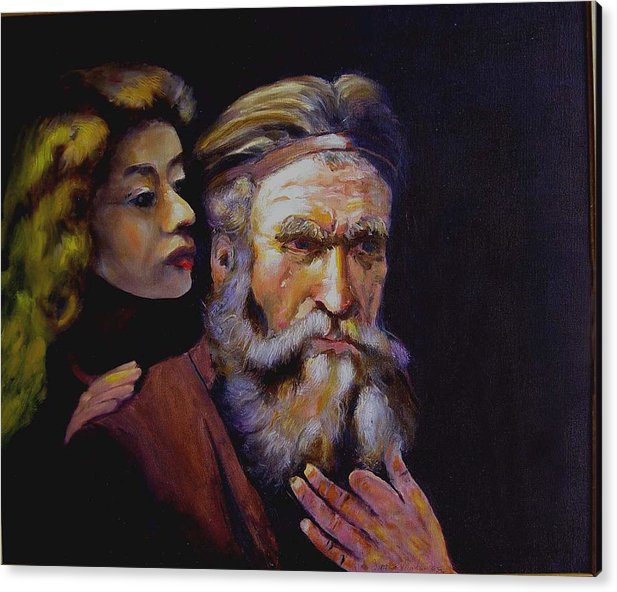 Portrait Of Matthew And Angel Acrylic Print featuring the painting Rembrandt - study by George Markiewicz