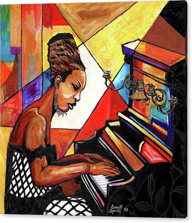 Everett Spruill Acrylic Print featuring the mixed media Nina Simone by Everett Spruill