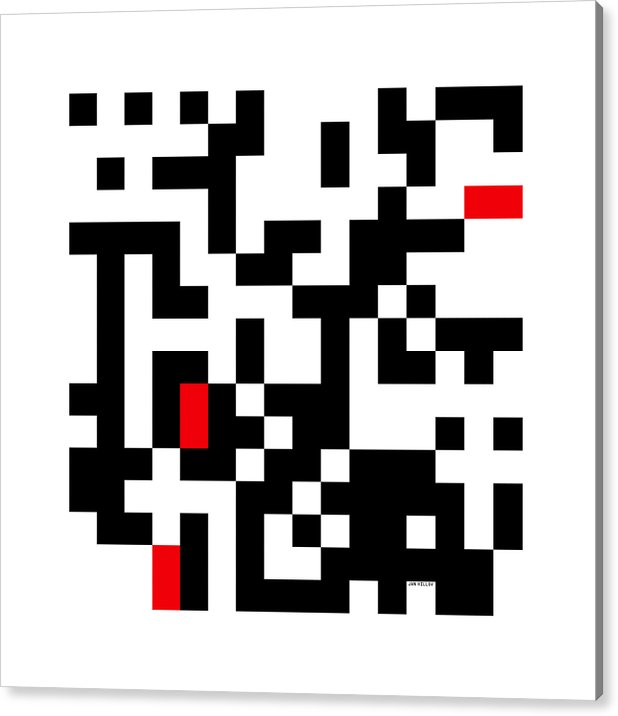 Random Digital Art Acrylic Print featuring the digital art Random Digital Art Black White and Red 3 by Jan Hillov