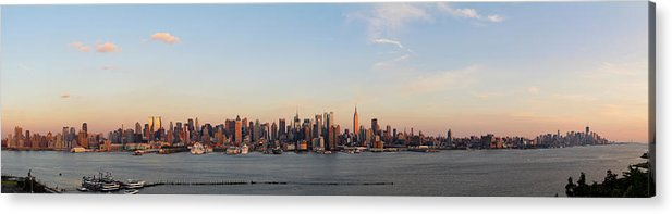 Lower Manhattan Acrylic Print featuring the photograph Panoramic View Of Manhattan At Sunset by Chrisp0