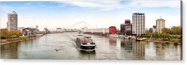 Panoramic Acrylic Print featuring the photograph Rhine (Rhein) - Ludwigshafen - Mannheim by Achim Lammerts