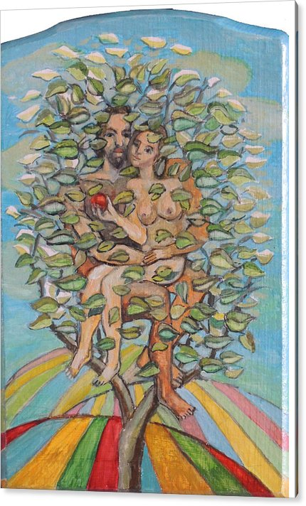 Thee Man Woman Earth Acrylic Print featuring the painting Life Tree by Vesko Kosta