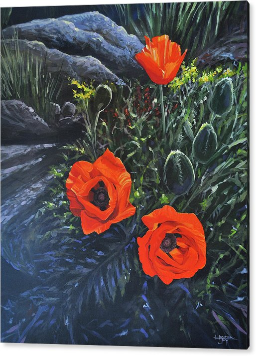 Poppy Acrylic Print featuring the painting Flame of the West by Hunter Jay