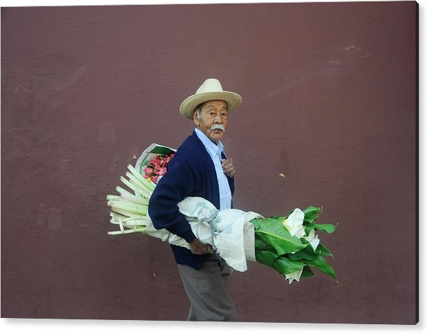 Flowers Acrylic Print featuring the photograph Old Man With Flowers by Joseph Cosby